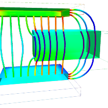 Field lines of a plate capacitor computed using boundary element method along with an innovative meshfree post-processing approach